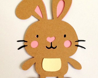 12 Brown Bunny die cuts - 4 inches tall