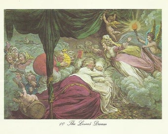 The Lovers Dream colour print 1964 Romance Romantic Singles Cuddles Bed Dreaming Angels Antique Print