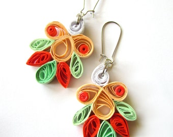 Pastel Quill Paper Earrings, Quilled Dangle Earrings, Quilled Paper Earrings, Quilling Jewelry