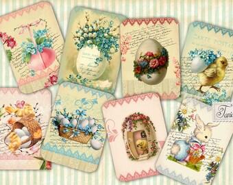 HAPPY EASTER Digital Collage Sheet Set of 8 Postcards Digital Scrapbooking Printable Download