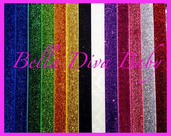 "Glitter Headbands - 5/8"" sparkle Glitter Elastic Headband - Interchangeable Headband - Choose Colors Headbands for photo prop"