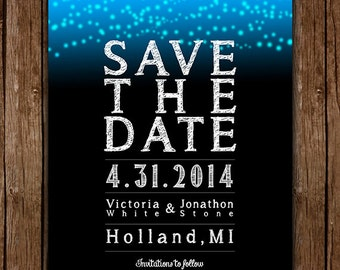 Blue Starry Night Save The Date - Custom