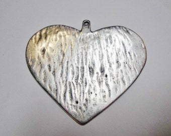 SALE: 65x73mm Large Heart Pendant, Dimpled, Hammered, Antique Silver,