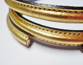 """SALE: 8"""" Precut Half Round with hole Metallic Gold Leather Cord Finding, Jewelry Supplies, Bracelet, Necklace, memory wire"""