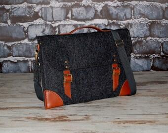 Felt Laptop bag 15 inch with pocket, sleeve, Macbook Pro 15 inch, Laptop case, dark grey felt and brown leather