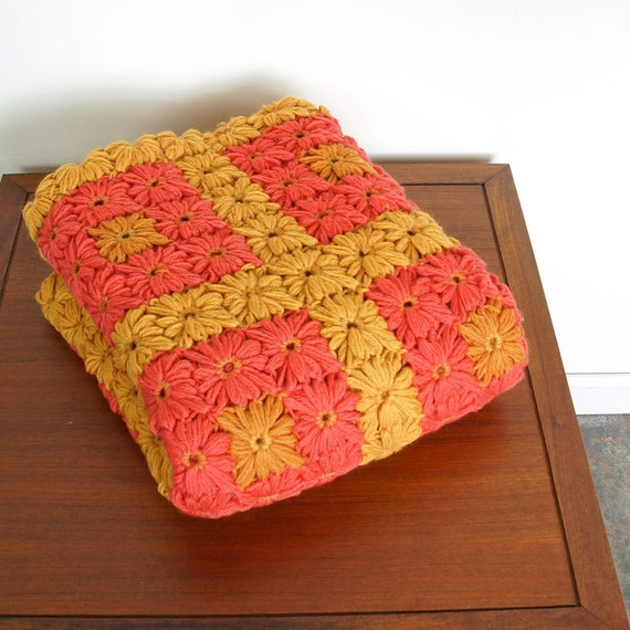 Vintage 70s Yellow Daisy Flower Afghan Throw Blanket Flower: 60s Hand Knit Afghan Throw / Ochre & Coral Colored By SPUNKvtg