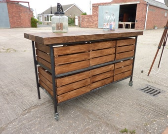 Stunning Industrial Rustic Steel & Timber Kitchen Island Sideboard