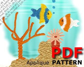 Crochet | Crochet pattern | Applique Pattern | Crochet OCEAN REEF one