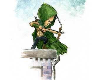 Green Arrow Comic Book Watercolor Painting Print