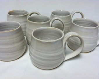 handmade mugs, coffee mugs, stoneware mugs, ceramic mugs, white, pottery mugs, cottage chic, modern, minimalist, barrel mugs