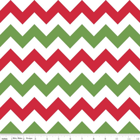 Christmas FLANNEL Chevron Fabric - Red and Green Medium Chevron by ...