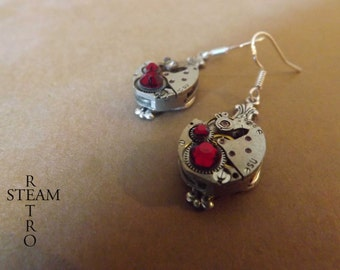 10% off sale16  Steampunk Silver Red Siam Earrings Steamretro -Steampunk Jewellery by Steamretro - Christmas gift
