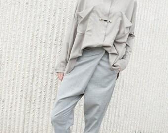 Women's pants - Elegant high waist trousers - unique trousers - pants with folds - classic pants - handmade pants