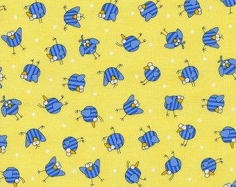 Timeless treasures birds blue or yellow 0,5 m pure Cotton fabric