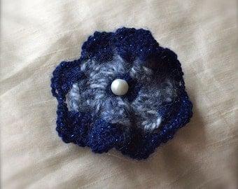 Handmade Flower Hair Accessory - Sparkle Yarn, Pearl, Tulle