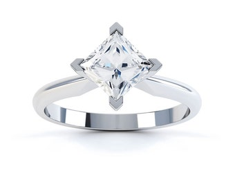 Twist 18ct White Gold Princess Solitaire Diamond Engagement Ring 0.35ct