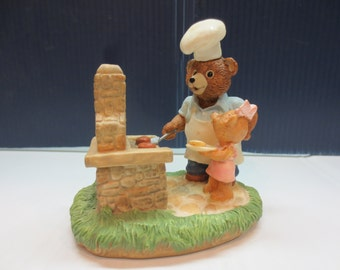 Dad and Daughter Bears at BBQ - Tender Touches Figurine
