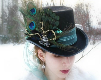 mad hatter top hat alice in wonderland top hat steampunk top hat mardi gras hat neo victorian top hat neo gothic top hat  ALICE