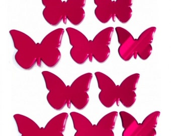 Red Butterfly Mirrors - Packs of 10 for Crafting and Decorative Use plus a single larger Red Butterfly