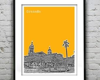 Granada Nicaragua Poster Art City Skyline Print