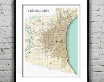 Philadelphia Vintage Map Poster Art Print Pennsylvania PA