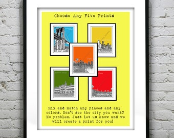 5 Pack Art Print Posters Mix and Match Your Choice any Cities, Colors, Size