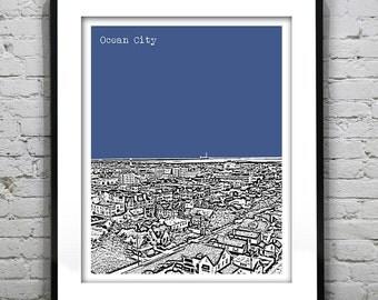 Ocean City New Jersey Poster Print Art NJ Skyline Version 1