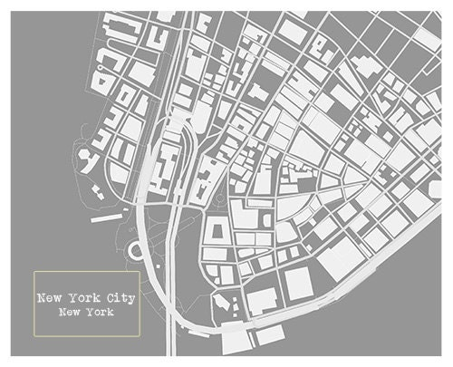 New york city blueprint map poster art print several sizes available malvernweather Image collections