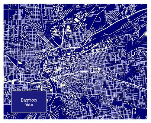 Dayton ohio blueprint map poster art print several sizes for Blueprint size prints