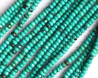 """Natural Turquoise Greenish Color Faceted Roundel Beads Size 4x2.5mm Full Strand 16"""""""