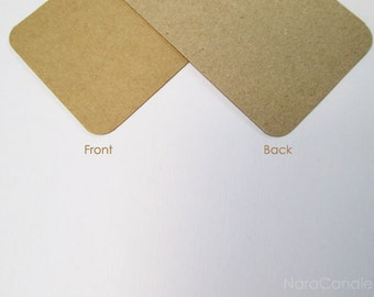Rounded Corners Kraft Business Card, Two Tone Brown Card Set of 100