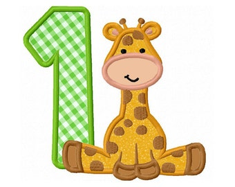 Giraffe baby Number 1Applique Machine Embroidery Design NO:0175