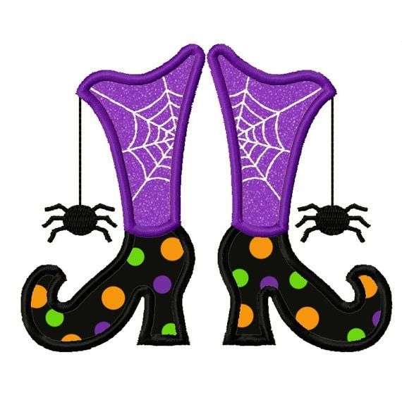 Witch Boots Applique Machine Embroidery Design No