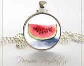 Watermelon Michelle Meyer Original Watercolor Image Necklace Pendant Jewelry Art Fruit Pink 0829SC