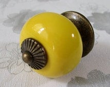 Yellow Dresser Knobs Drawer Knob Kitchen Cabinet Knobs Pulls Handles Rustic Antique Bronze Door Handle Pull Ceramic Knobs Colorful Hardware