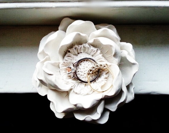 Magnolia flower wedding ring dish, bridal party gifts, minimalist, white flower