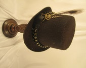 STEAMPUNK HAT MEN'S brown felt top hat with peacock, bullets. clock parts &  gears