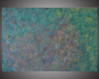 """Beginning.  Original Abstract Acrylic Painting on canvas. 24"""" x 36"""" x 1.5""""  Blues, purples, pinks, green, yellow, red, white."""