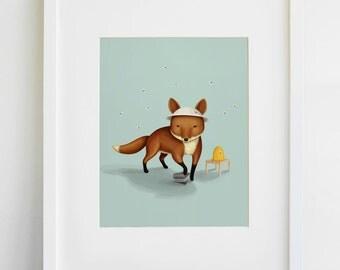 Fox Beekeeper Print