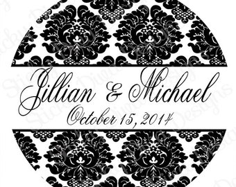PERSONALIZED STICKERS - Custom Elegant Damask Wedding Monogrammed Labels  - 14 Sizes to choose from - Gloss Sticker Labels