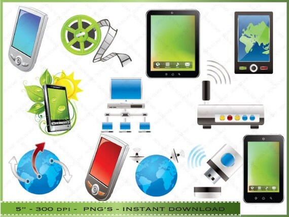 Technology Clip Art Graphics   Computer   Cell Phone   For    Information Technology Clipart