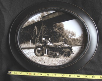Framed 8x10 inch oval print of a 1947 Harley Knucklhead motorcycle