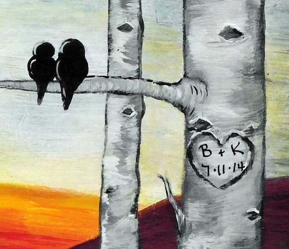 Wedding Gift Painting: Personalized Wedding Gift Wood Aspen Trees Painting Bird Love