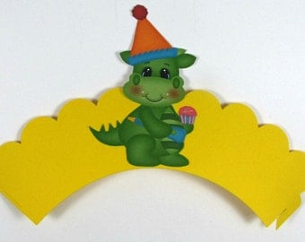 Dragon cupcake wrapper, dragon birthday, cupcake wrapper set of 12