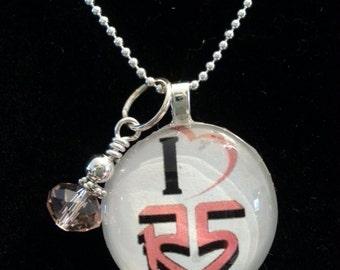 R5 Music Glass Tile Pendant Necklace