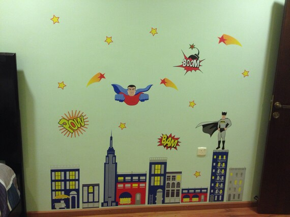 Kids Super Hero Wall Decals Super Hero Wall Art Wall - Superhero wall decalssuper hero wall art etsy