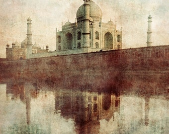 Love reflections Taj Mahal print Agra India travel love monument architecture blue red pastel fine art print, home decor