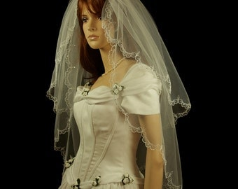 Bridal Veil - Olivia Wedding Veil with Embroidery and Rhinestones - Lace Veil - Two Layers - Fingertip Veil