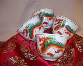 4 Vintage Asian Orange Turquoise Dragon Oriental Tea Cups
