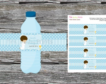 DIY - Boy First Communion Water Bottle Labels- Coordinating Items Available
